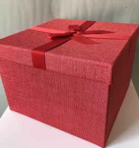 Blocco di 5 Scatole multiuso rivestite in stoffa rossa