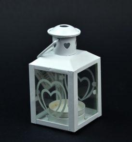 Lanterna con cuore in metallo bianco
