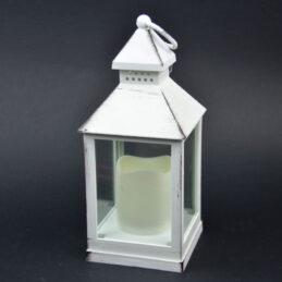 Lanterna in legno bianco con candela elettronica b1066