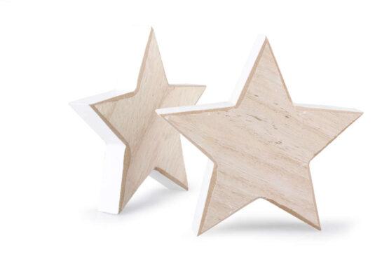 Legno Naturale Bianco : Decorazione natalizia in legno naturale bianco forma stella grande
