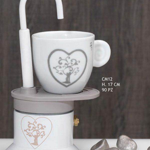 Bomboniere Caffettiere Per Matrimonio Prezzi.Bomboniera Matrimonio Caffettiera Con Tazza Decorazione Albero