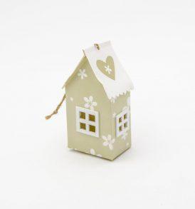Casetta in Cartone Portaconfetti colore bianco/sabbia