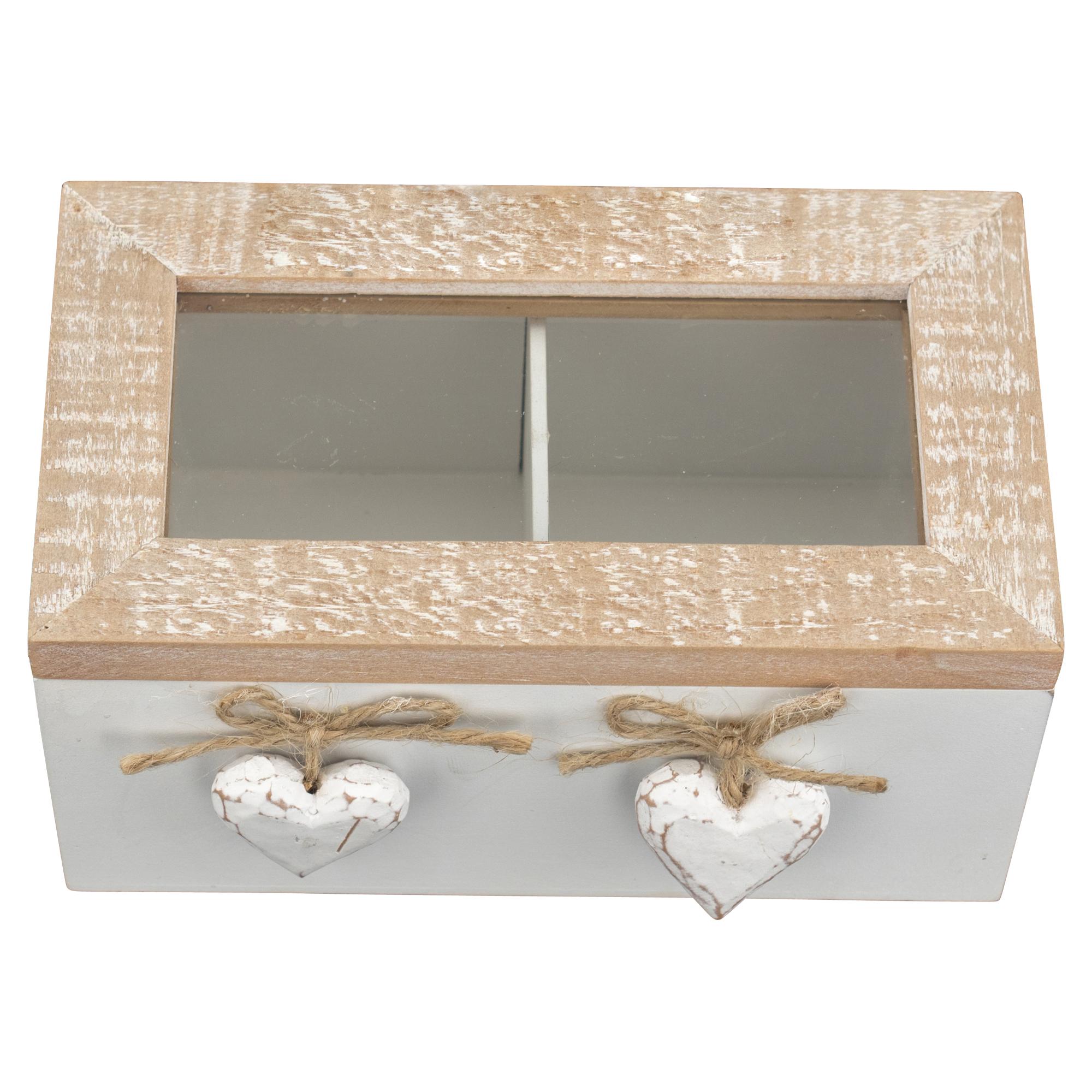 scatola in legno due scomparti shabby chic linea love