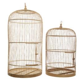 Gabbia Decorativa per Uccelli in Bambù Naturale Set 2 Pezzi