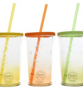 Bicchieri Colorati in Vetro con Coperchio e Cannuccia