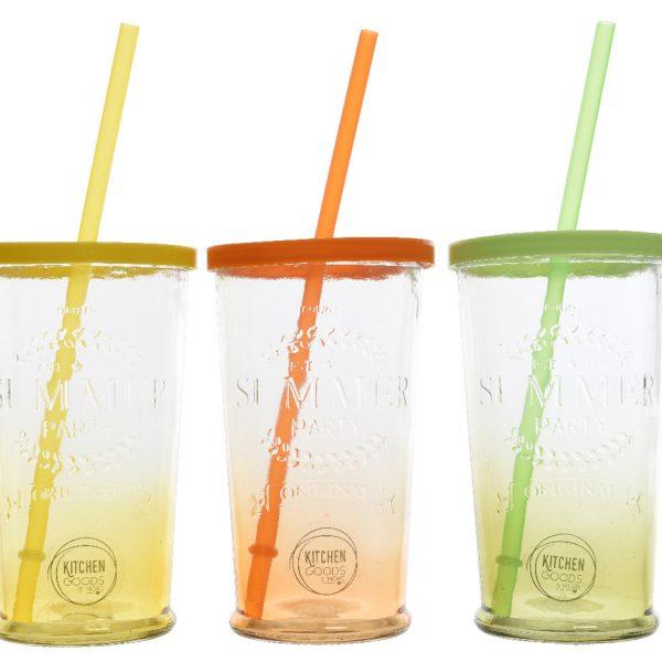 Bicchieri colorati in vetro con coperchio e cannuccia for Bicchieri colorati vetro