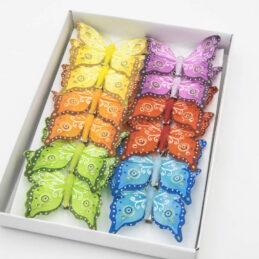 Farfalle Decorative Multicolore in Tessuto con Clip