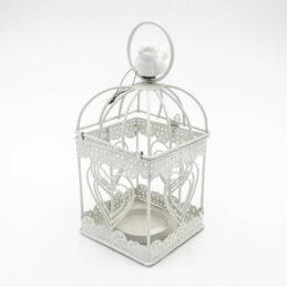 Gabbietta Porta candela in Metallo Bianco