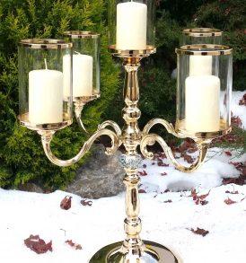 Candelabro stile inglese a cinque fiamme gold