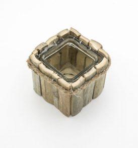 Portavaso quadrato in Bamboo con Contenitore in Vetro