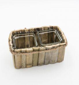 Portavaso Rettangolare in Bamboo vs 2/Contenitori in Vetro