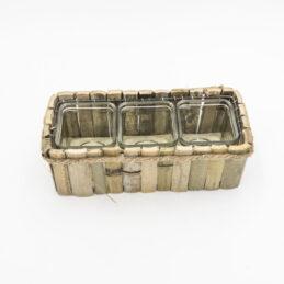 Portavaso Rettangolare in Bamboo vs 3/Contenitori in Vetro