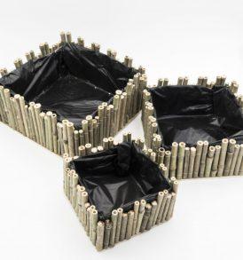 Set 3 Pezzi Cesto Quadrato Portavaso/Portapiante in Bamboo Naturale