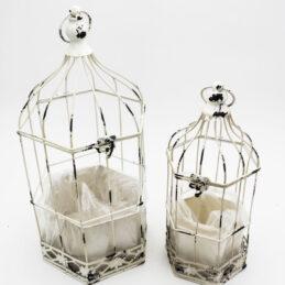 Gabbia Decorativa in Metallo Smaltato Bianco Anticato Set 2/pz