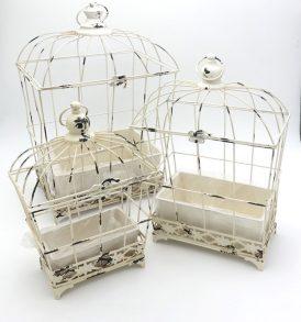 Gabbia Decorativa in Metallo Smaltato Bianco Anticato Set 3/pz