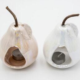 Portacandela a Forma di Pera in Ceramica Effetto Perlato