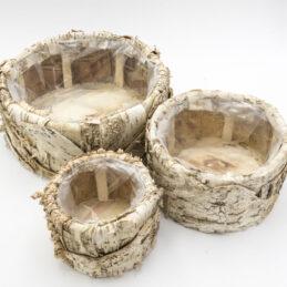 Caspò Tondo in Corteccia d'Albero Naturale Set 3/pz