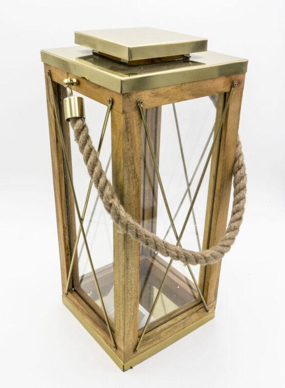Lanterna in Legno e vetro con Top e Particolati in Metallo