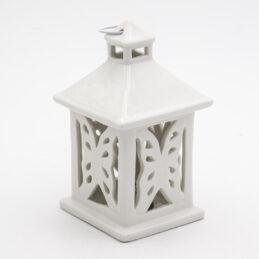 Lanterna con Farfalla in Porcellana Bianca Linea Romantica