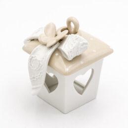 Lanterna Diffusore di Profumo con Fiocco e Farfalla in Porcellana Bianca