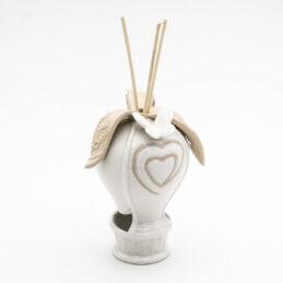 Bomboniera Mongolfiera Diffusore di Profumo con Fiocco e Farfalla in Porcellana Bianca Royal
