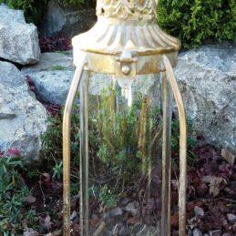 Lanterna portacandela in vetro con rifiniture oro