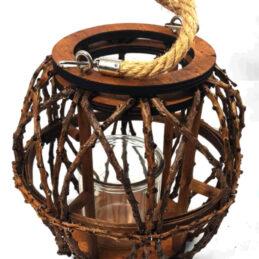 Portacandela lanterna in legno