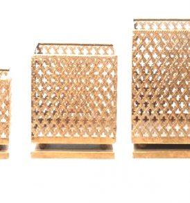 Set 3 pz portacandela in metallo oro traforato