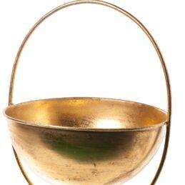 Struttura a forma di coppa in metallo oro da appendere per composizioni floreali