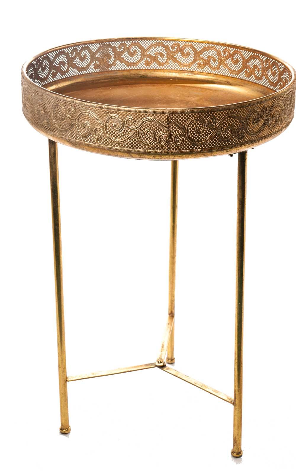 Tavolino Tre Piedi.Tavolino A Tre Piedi Porta Oggetti In Metallo A Oro
