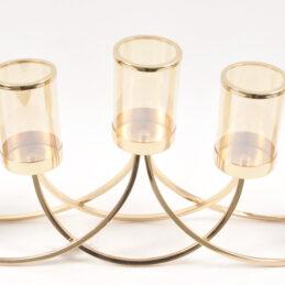 Portacandela in metallo oro,ideale per allestimenti