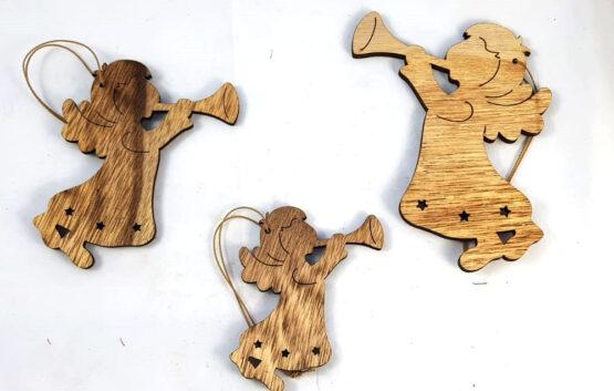 Angioletti appendini in legno set 3 pz