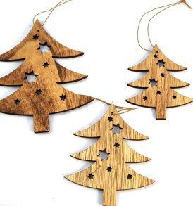 Alberelli appendini in legno set 3 pz
