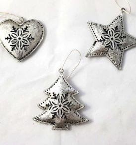 Appendini natalizi in metallo silver