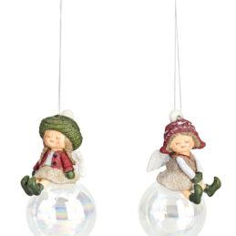 Sfera natalizia in vetro con angioletto