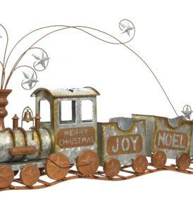 Treno natalizio in metallo