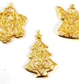 Appendini natalizi in metallo oro