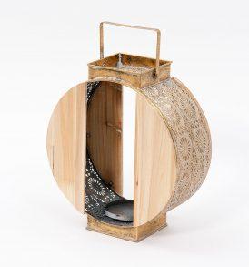 Lanterna in metallo color oro e legno
