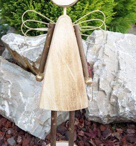 Angelo portacandela in legno