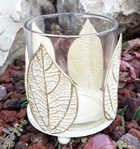 Portacandela in vetro con decorazione foglia oro