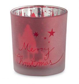 Bicchiere portacandela in vetro natalizio