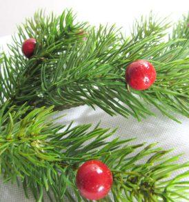 Ramo di pino con bacche rosse