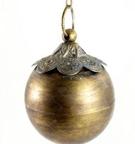 Sfera appendino natalizia in metallo oro