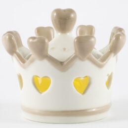 Bomboniera comunione corona in porcellana con luce led