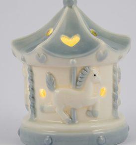 Bomboniera battesimo/nascita carillon porcellana led