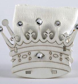 Sacchetto portaconfetti con corona in legno