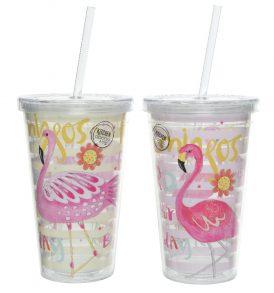 Bicchieri da asporto in stile flamingo
