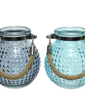 Vaso in vetro lavorato con manico in corda