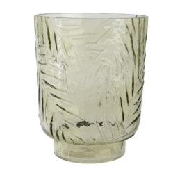 Vaso in vetro verde con foglie in rilievo