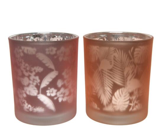 porta candela in vetro tropicale